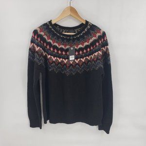 Lucky Brand Chevron Smocking Design Knit Sweater